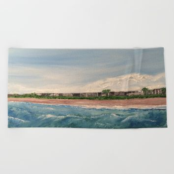 Cocoa Beach  Oil on canvas Beach Towel by Annette Forlenza