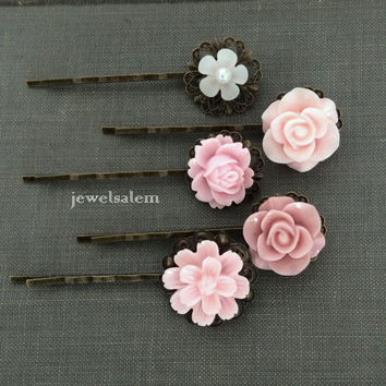 Pink Hair Pins Set of 5 Blush Floral Bobby Pins Romantic Wedding Bridal Hair Clips Bridesmaids Gift Flower Girl Modern Victorian Woodland