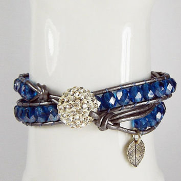 Blue Crystal Beaded Leather Wrap, Multi Wrap, Artisan Silver Leaf Bracelet, Shabby Chic Cuff, Double Beaded Wrap, Boho Chic