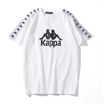 Kappa Summer Popular Couple Casual Print Cotton T-Shirt Top White