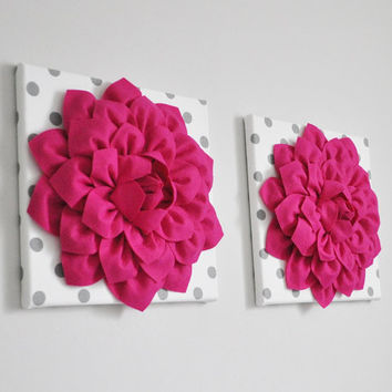 Dahlia Flowers Hot Pink Nursery Decor, Flowers Wall Art, Girl Nursery Decor, Kids Wall Art, Polka Dot Decor, SET OF 2 Flower Prints