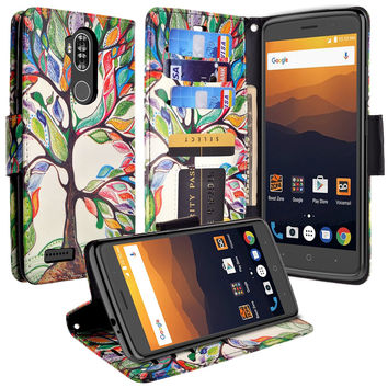 ZTE MAX XL, BLADE 3, ZMAX PRO 2, Wrist Strap Pu Leather Magnetic Fol[Kickstand] Wallet Case[ID & Card Slots] - Colorful Tree