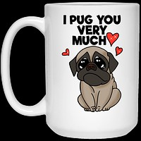 Valentine's Gift Pug Mug, Gift for Girlfriend, Boyfriend, Pug mom, dad