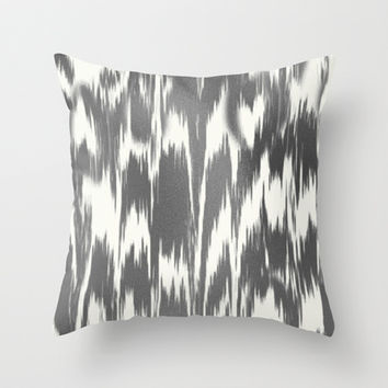 Ikat: Gray off White Throw Pillow by Eileen Paulino