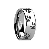 Animal Design Ring - Wolf Track Print -  Laser Engraved - Flat Tungsten Ring - 4mm - 6mm - 8mm - 10mm - 12mm