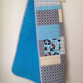 Modern baby blanket~ retro baby quilt~ crib quilt~ cot quilt~ nursery bedding~ baby boy quilt~ retro camera~ bright blue~ grey~ gray~ yellow
