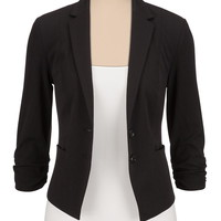 2 Button Cinched Sleeve Blazer - Black