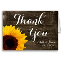 Sunflower Barn Wood Wedding Thank You Cards