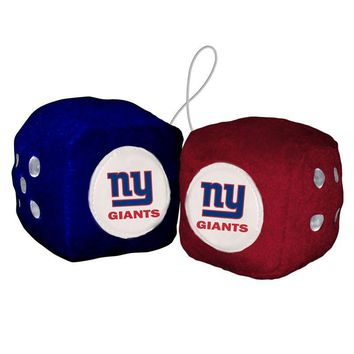 "New York Giants Fuzzy Dice NFL High Quality PLUSH 3"" Car Auto Truck Football"