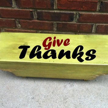 Give Thanks Primitive Home decor Serving Table Riser Display Shelf Mini Picnic Table Serving Stand