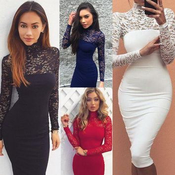 DCCKWQA Gagaopt 2016 Sexy Lace Hollow Out Woman Dress Fashion Party Wear Slim Ladies Dress Elegant High Neck Lace Woman Pencil Dress