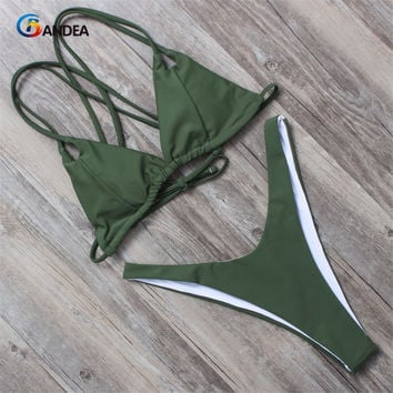 BANDEA women bikini set summer 2017 solid swimsuit halter top swimwear padding bikini brazilian swimwear bathing suit HA011