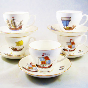 Vintage Bone China Cups Teacups Saucers SHIPS of HISTORY
