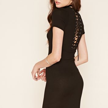 Lace-Up Back Midi Dress