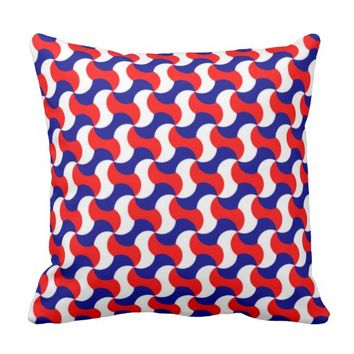 RETRO PATTERN PILLOW, Red White & Blue Throw Pillow