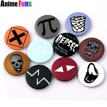 10 types Hot Games Watch Dogs 2 Logo Pin BUTTON Badge Brooche School Bag Badge Game Collection Great Charm Gift For fans