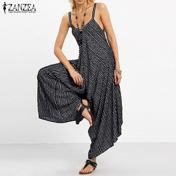 2017 ZANZEA Rompers Womens Jumpsuit Sexy Strapless Casual Loose Striped Playsuits Backless Summer Overalls Oversized S-5XL