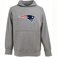 Antigua New England Patriots Signature Pullover Hoodie - Heather Gray