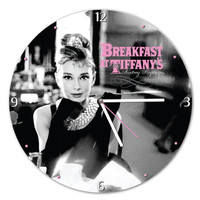Audrey Hepburn® 13.5 Cordless Wood Wall Clock - Unique Vintage - Cocktail, Evening, Pinup Dresses