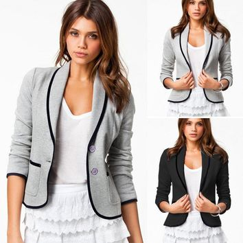 Women Long Sleeve Casual Business Blazer Slim Short Coat Work Jacket Outwear Top