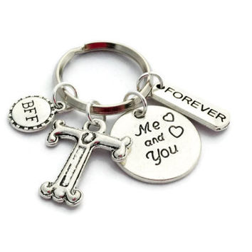 BFF Keyring, Best Friend Gift, Personalized Keychain, Birthday Gift for Sister, Long Distance Friendship, Daughter Present, Charm Key Ring