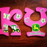 PINK JOHN DEERE INSPIRED HAND PAINTED WOOD WALL LETTERS