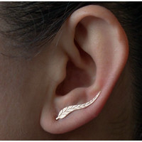 18K Gold Plated Leaf Earrings Modern Beautiful Feather Stud Earrings for Women
