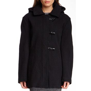 Jessica Simpson Black Funnel Neck Boucle Coat