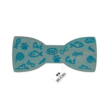 Wooden Fish Bone Turquoise Bow Tie