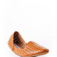 Steve Madden Shoes, Pompei Stud Smoking Slipper in Cognac                       - Francescas