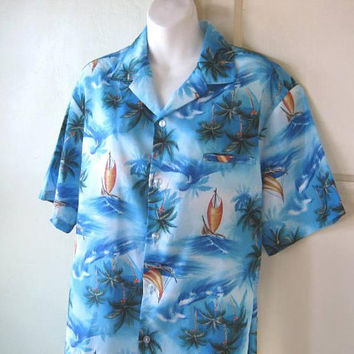 Classic Blue Hawaiian Shirt; Midcentury Pac Shores Style Short-Sleeve Men's Large Tiki Party/Surf Band Shirt; U.S. Shipping Included