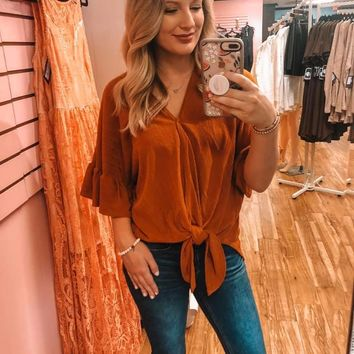 V-Neck Flutter Sleeve Top- 4 colors