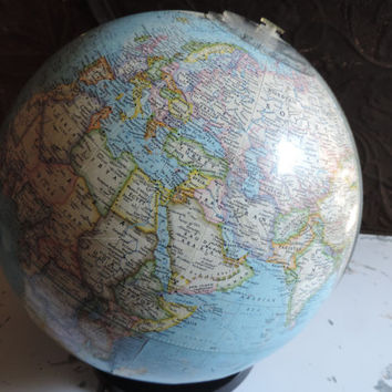 Vintage National Geographic Globe Geometer  Replogle Globes Chicago IL. 1978