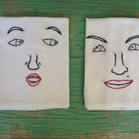 Embroidered Face Towels Kitchen Dish Unique Flour Sack Set of 2