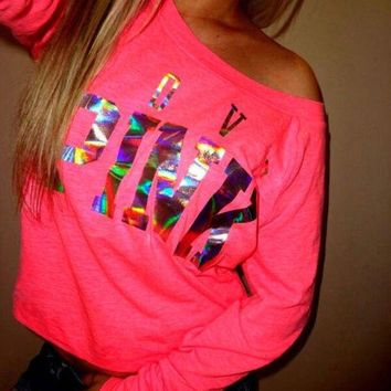 One-nice™ Victoria's Secret PINK Women's Fashion Letter Print Round neck Long-sleeves Pullover Tops T-shirt