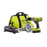 Ryobi ONE+ 18-Volt Lithium-Ion Starter Kit (2-Tool)-P825 at The Home Depot