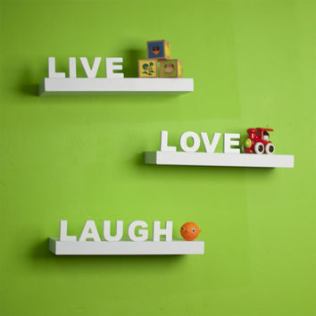 "decorative ""Live"" ""Love"" ""Laugh"" White Wall Shelves(Set of 3) by Danya B"