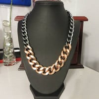 Chunky Rose Gold and Gunmetal Chain necklace