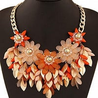 Red Beaded Floral Ornate Necklace