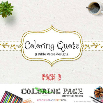 Printable Adult Bible Coloring Page Printable Coloring Pages Bible Verse Designs Printable Art Adult Coloring Book Instant Download (Pack B)