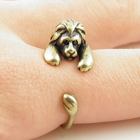 Retro Adjustable Lion Animal Wrap Ring