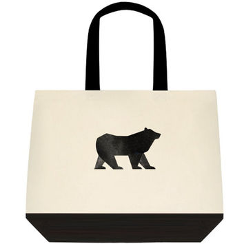 Bear print tote, Woodland tote, cottage chic, Canvas bag, Personalized Custom Tote, Personalized Gift, Reusable Bag, Canvas Totes