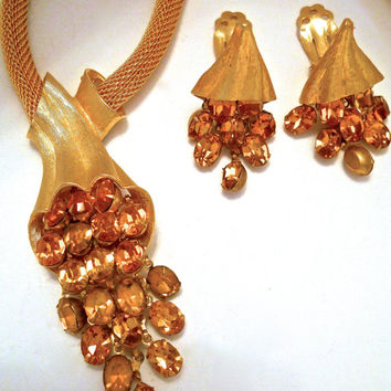 Mesh Necklace-Earrings Set, Topaz Dangle Rhinestones, Gold Tone, Vintage