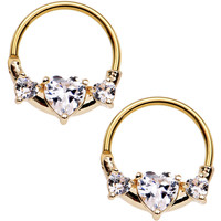 Gold IP Clear Heart Nipple Clicker Set Created with Swarovski Crystals
