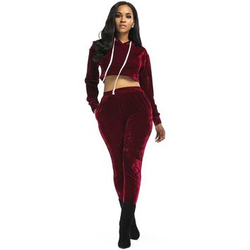 PENERAN Autumn Winter Sportswear for Women Solid Pleuche Sport Suit Yoga Set Hooded Tops and Elastic Pants Running Suit Red S M