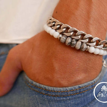Men's Bracelet Set - Men's Beaded Bracelet - Men's Silver Bracelet - Men's Cuff Bracelet - Men's Jewelry - Men's Gift - Present For Men