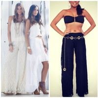 ELAN LACE WIDE LEG FLARE PANT FULLY LINED RESORT COLLECTION 2013 NORDSTROM $89