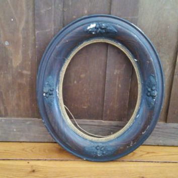Vintage Oval Wood Frame With Floral Embellishments Great For Framing and Decor