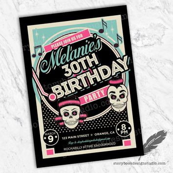 Rockabilly Pink Birthday Party Invitations
