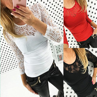 Tight Sexy Stitching T-shirt Lace Tops